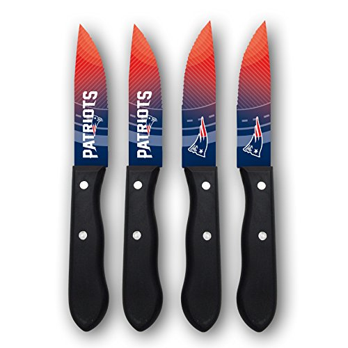England Set Patriots New (sportsvault NFL New England Patriots Steak Knives (Set of 4), Blue, 9.75