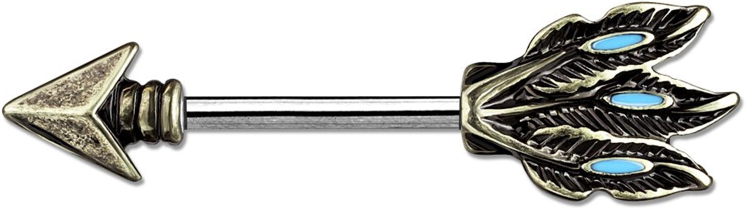 Piercing téton tribal flèche doré