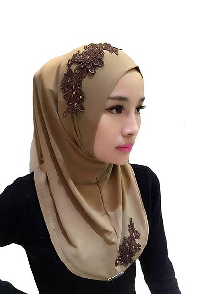 Feicuan musulmán Mujer Turban Pañuelo flores bordado de encaje Chiffon Islamic Hijab: Amazon.es: Ropa y accesorios