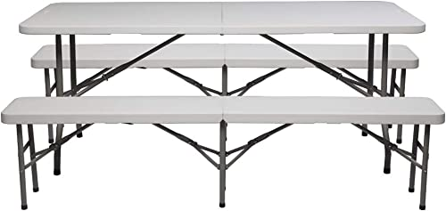 VINGLI 6 FT 3-Piece Portable Picnic Table Bench Set, Weather-Resistant Plastic Folding Camping Beer Table w Carrying Handles, for Family Garden Patio Outdoor Activities Use, at Home and Commercial