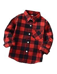 ALLureLove Little Kids Boys' Girls' Long Sleeve Button Down Plaid Flannel Shirt