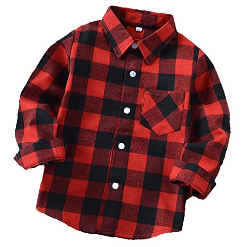 ALLureLove Little Kids Boys' Girls' Long Sleeve Button Down Plaid Flannel Shirt (Black-Red(E001), 6 - Plaid Flannel Boys Shirt Red