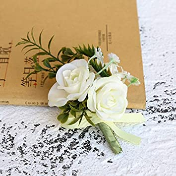 Yuhualiyi123 Rosa Artificial Flor Novio Boutonniere Hombre ...