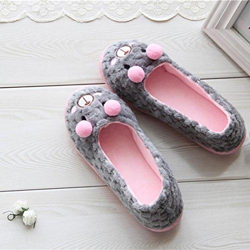 Amiley Womens Casual Cute Bear Slip-on House Slippers Flats Anti-slip Shoes Gray Lmc4d