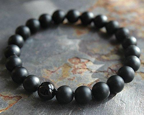 (suchadaluckyshop siamsmilethailandshop Mens Matte Black Onyx Yoga Energy Beaded Bracelet Boyfriend Gift for Him Jewelry)