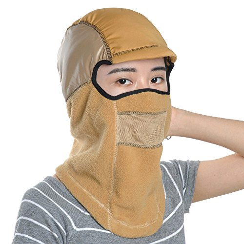 Leories Winter Fleece Windproof Ski Mask Warm Full Face Cover Balaclava Khaki