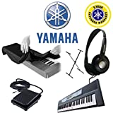 : Yamaha EZ-200 61-KEY Lighted Electronic Keyboard with Yamaha Foot Pedal for PSRE213 PSRE313 PSRE413 EZ200 with Stereo Dynamic Headphones and Single-X X-Style Keyboard Stand with 61-76-key Electronic Keyboard Dust Cover Plus Yamaha 2-YEAR Extended Warranty