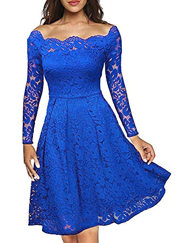 be0bc6ece1f5 NEHO Women's Plus Size Lace Dress Off The Shoulder Knee Length Elegant  Party Wedding Swing Dress