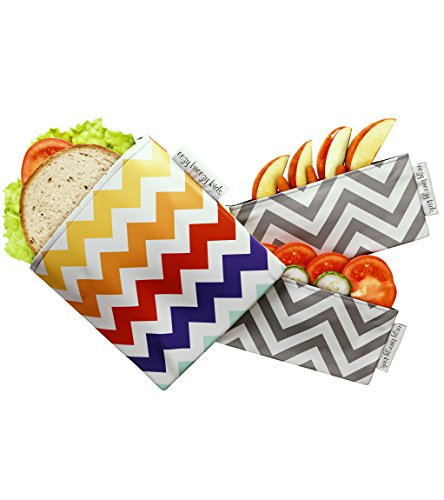 FOOD SAFE Snack & Sandwich Bags. Reusable and Multipurpose Cloth Bags. Washable, Food Safe, Environmentally Friendly Reusable Baggies (Multi Color Chevron)