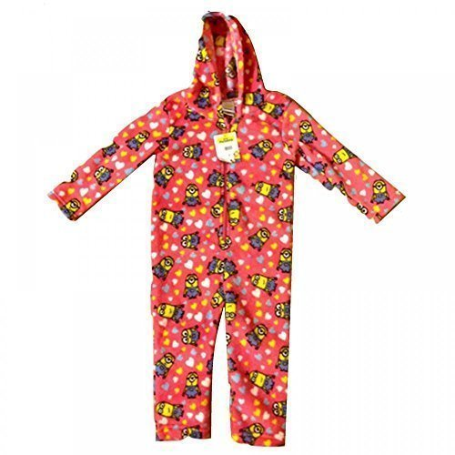 Despicable Me Minions Onesie Jumpsuit Hooded Coral Fleece Pyjamas Playsuit Kids Childrens Girls 3 Sizes (2-3 Years)