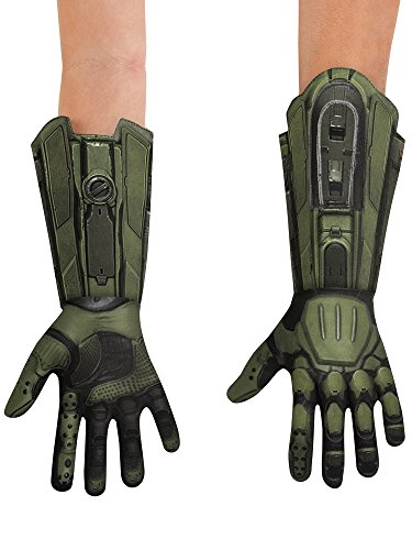 Disguise Men's Master Chief Deluxe Adult Costume Gloves, Green, One Size]()
