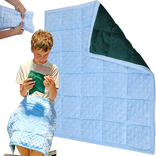 Weighted-Lap-Pad-for-Kids-Blanket--5-Lbs-Bundled-with-Fidget-Marble-Maze--Sensory-Tools-Sensory-Weighted-Lap-Blanket-BlueGreen