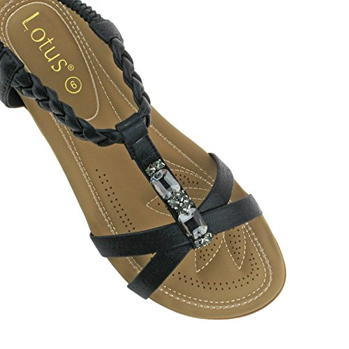 Black Lotus Ladies Sandals UK ROVERTO 3 Elasticated 36 Sling Jewelled Strapped Back EU qEpCEw