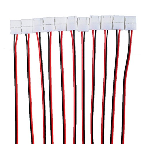 Besmelody 20-Pack 2 Pin 8mm LED Strip Connector for Strips Light 3528 Single Color ()