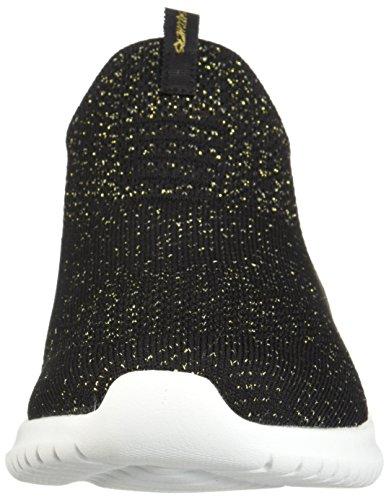 Mujer Tobillo bajo de Y 12838 Skechers Dorado Negro Sintético nfq4XHwv