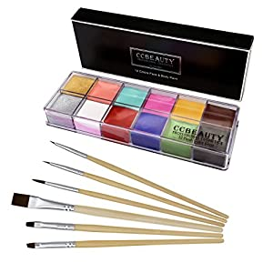 CCbeauty Professional Face Paint Oil Body Painting Art Party Fancy Make Up + Brushes Set (12 deep Color+Brushes)