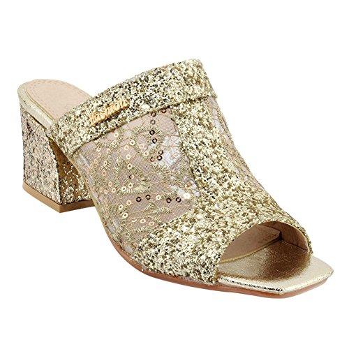 Carolbar Womens Voile Mesh Peep Toe Vacations Mid Heel Sandal Slippers Gold 6Fvav8zz