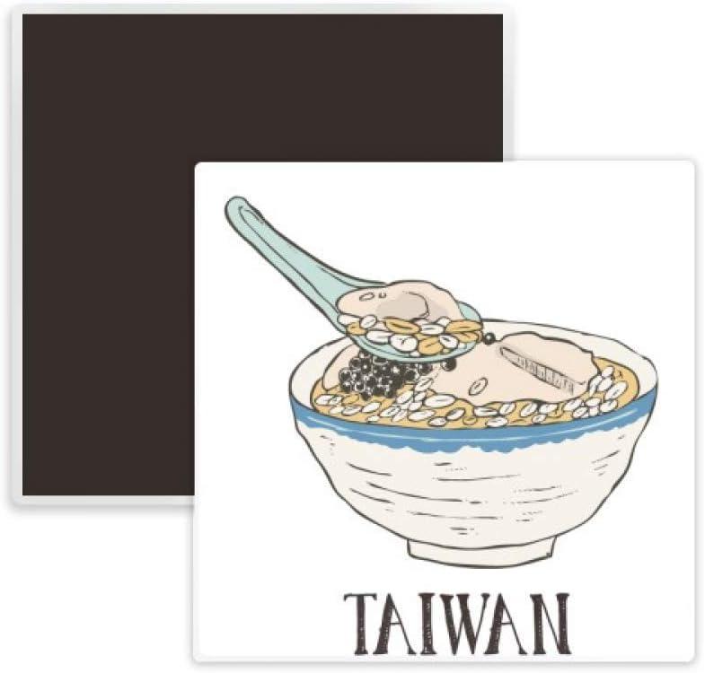 Cold Drink Ice Food Taiwan Square Ceramics Fridge Magnet Keepsake Memento