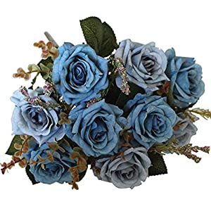 Sunlightam Roses Artificial Flowers 9 Heads Bouquet, Silk Fake Flowers Vintage Décor for Wedding, Home, Party 92