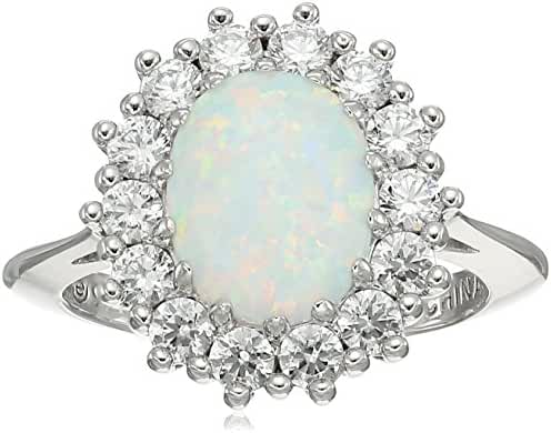 Platinum Plated Sterling Silver Created Opal made with Swarovski Zirconia Accents Ring