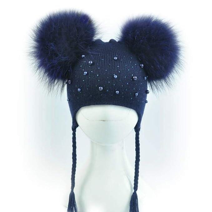 BrillaBenny Cappello Bambina Baby Due PON PON Pelliccia Luxury Bimba Perle  Strass E TRECCINE (1-5 Anni) Cappellino CUFFIETTA Cuffia Hat Fur Kids  Braids ... 3060029acdeb