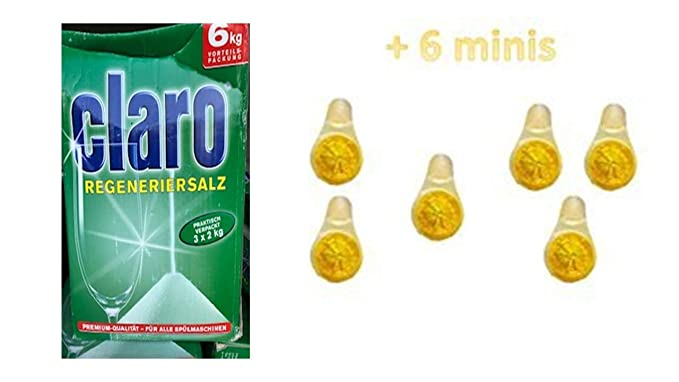Claro lavavajilla Sal 6 kg (3 x 2kg) + 6 Mini Limones Aroma Fresco ...