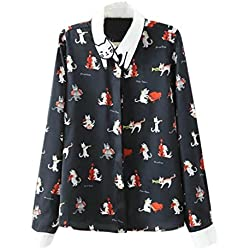 Joeoy Women's Navy Printed Cat Pattern Collar Long Sleeve Button Down Shirt-L