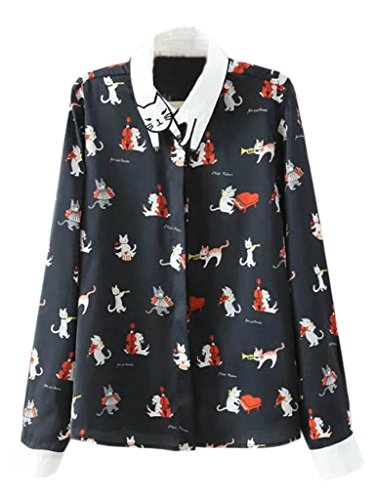 Joeoy Women's Printed Cat Pattern Collar Long Sleeve Button Down Shirt 51KzdzjWBgL