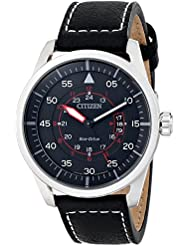 Citizen Eco-Drive Mens AW1361-01E Sport Stainless Steel Watch with Leather Band