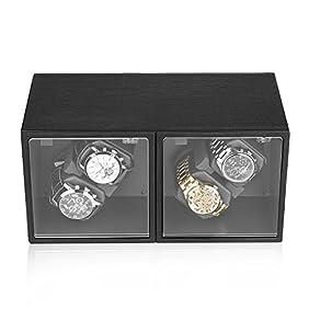 Excelvan Automatic Watch Winder Storage Display Brown Leather Wooden Box (Alligator Grain 4+0)