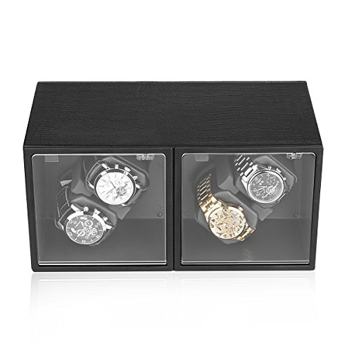 excelvan-automatic-watch-winder-storage-display-brown-leather-wooden-box-alligator-grain-4-0