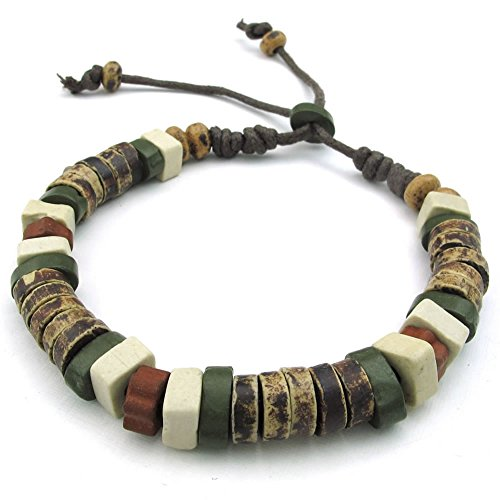 KONOV Mens Womens Ceramic Rope Bracelet, Tribal, Fit 7-9 inch Adjustable, Green Brown Ceramic Mens Bracelets