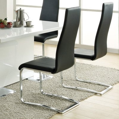 Coaster 100515BLK Dining Chair Black Faux Leather Chrome Legs Set (Faux Leather Coaster Set)