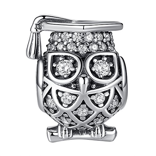 Graduate Owl Charm 925 Sterling Silver Lucky Animal Charm Beads fit pandora charms for pandora bracelets, Birthday Valentine's Day Graduation Gifts for Women Teen Girls Daughter Kids Children