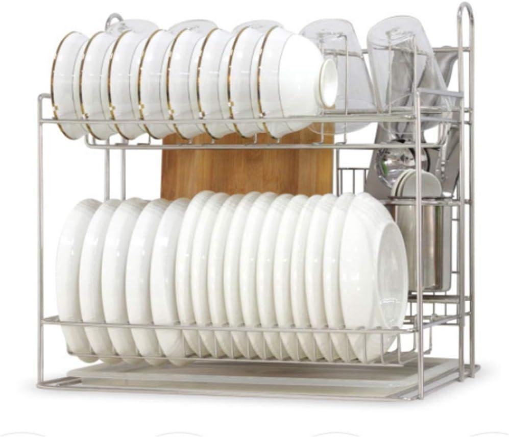 水切りラック 耐久性のあるステンレス多機能キッチンラックディッシュラックディッシュドレンラック キッチン用品 収納棚 (Color : Silver, Size : 43.5x32x42.5cm)
