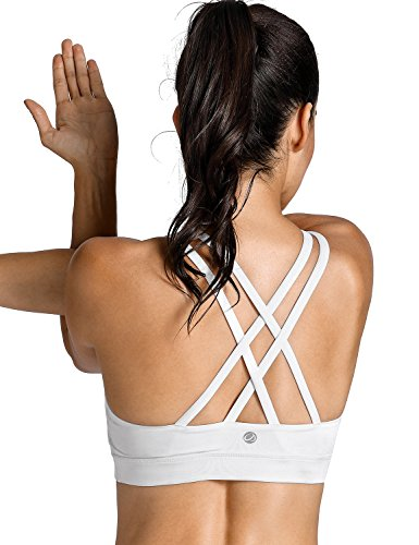 CRZ YOGA Women's Strappy Back Wirefree Padded Workout Yoga Sports Bra White-New M