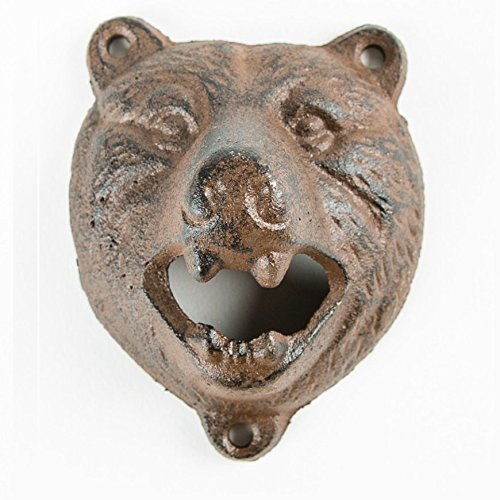 CKB Ltd Wall Mounted Bear Bottle Opener Cast Iron Hand-Painted Finish - Gift Boxed ()