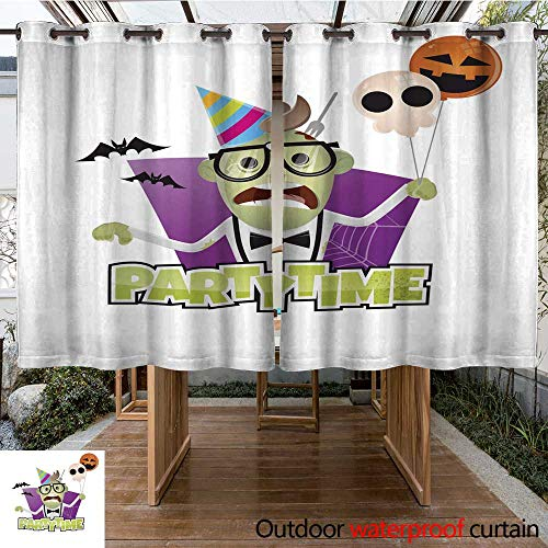 RenteriaDecor Outdoor Ultraviolet Protective Curtains Halloween Party Character W96 x L72 ()