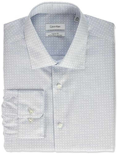 Calvin Klein Men's Non Iron Regular Fit Printed Check Spread Collar Dress Shirt, Empire Blue, 14.5