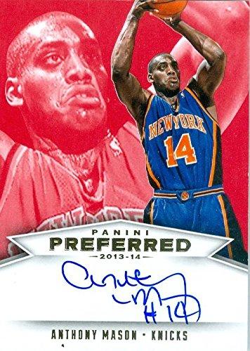 Mason Autographed Basketball - Anthony Mason autographed Basketball Card (New York Knicks) 2013 Preferred #542 Certified