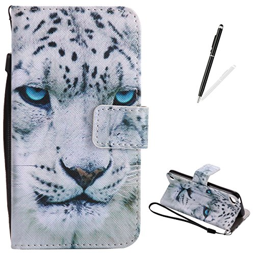 iPod touch 5/6 Flip Leather Case KaseHom [Free Black Stylus Pen], Folio Magnetic Cartoon Pattern Premium PU Wallet Cover with Lanyard [Card Slots] [Kickstand] Protective Holster White Leopard (Touch Ipod Zebra 5 Case)