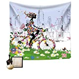 Wall Hanging Tapestry Bike Girl Decor College Campus Dorm Home Dorm Living Room Or Guest Room Decoration HYC02-B-US 90'' x 59''(230150 cm)