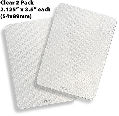 egrips 2.13 x 3.5 inch 2 Pack Clear Anti-Slip Grip Sticker for Mobile Phone / Case, Apple iPhone 4 5 6 7 Plus SE Galaxy Edge Note; APPLY TO FLAT SURFACES ONLY - NOT FOR PHONE SIDES - 54x89mm 2 Pack (Grip Strip For Cell Phone)