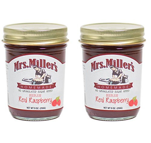 Mrs. Miller's Amish Homemade Seedless Red Raspberry No Granulated Sugar Added Jam 9 Ounces - Pack of 2 (No Corn Sugar) ()