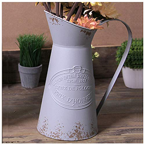 VANCORE Shabby Chic Vase Large Metal Pitcher Jug Flower Can