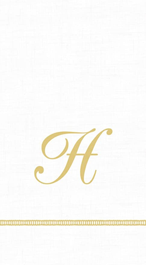 Small White Linen Guest Hand Bathroom Towel monogrammed initial D hemstitched