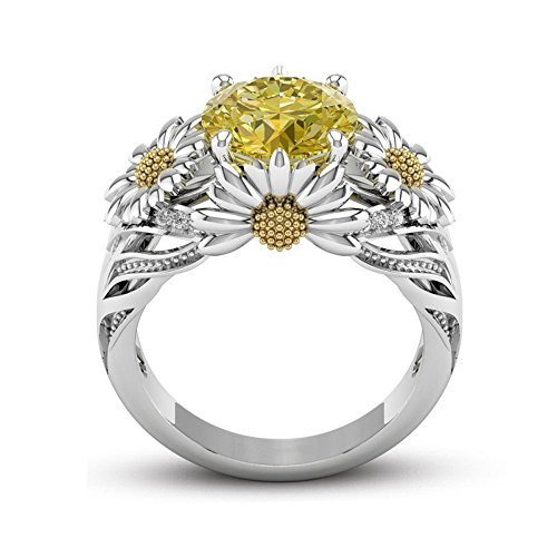 European and American Fashion Sunflower Diamond Ring,Outsta 2019 Fashion Jewelry Hot Sale!Under 5 Dollars Gifts for Her