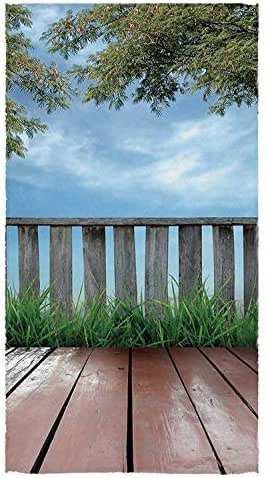 C COABALLA Patio Decor Utility Bath Towel,Wooden Seem Terrace Veranda with Olive Trees in Open Sky Photo for Home,56
