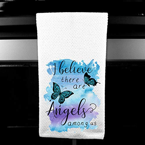 I Believe there are Angels Among Us, Gift for Woman Grief, Memorial Microfiber Kitchen/Bar Towel