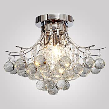 LOCOÂ Chrome Finish Crystal Chandelier With 3 Lights, Mini Style Flush  Mount Ceiling Light Fixture Part 55